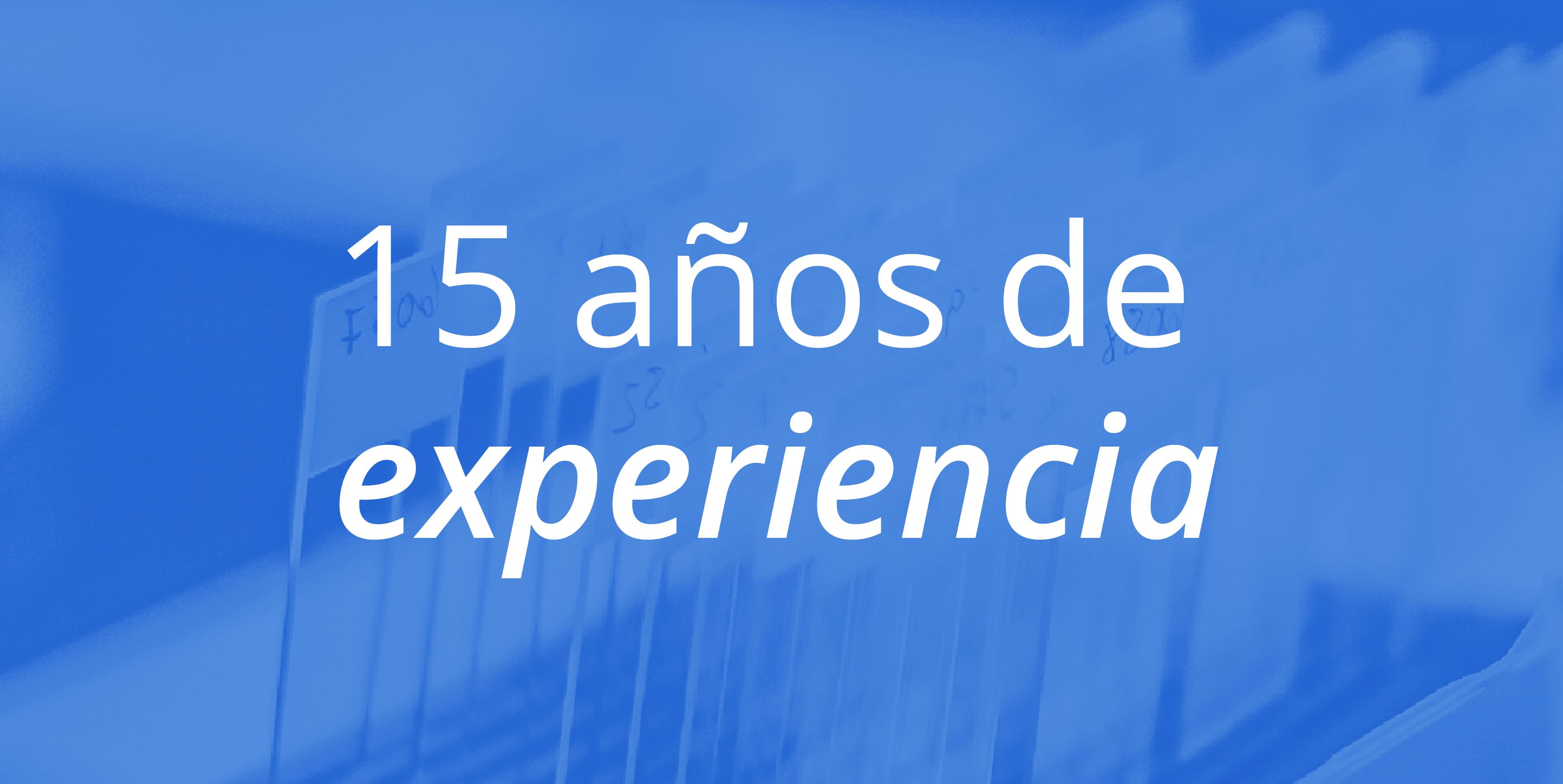 15 años de experiencia banner